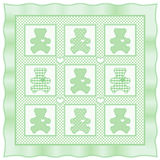 игрушечный quilt медведя зеленый пастельный Стоковое Изображение