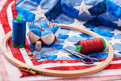 Quilt assembly with stylized elements of the American flag Royalty Free Stock Photos