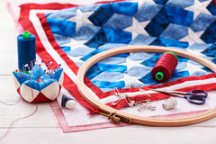 Quilt assembly with stylized elements of the American flag Stock Image