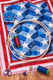 Quilt assembly with stylized elements of the American flag Stock Images