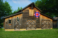 Quilt Barn. The quilt barn, with a red, white and blue quilt, at Beckman Mill county park, just west of Beloit, Wisconsin Royalty Free Stock Photography