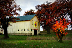 Quilt Barn, White. One of the many quilt barns in Walworth County, WI stock photo