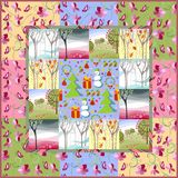 Quilt blanket. Patchwork. Four seasons Stock Images