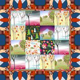 Quilt blanket. Patchwork. Four seasons - winter, spring, summer and autumn Stock Images