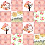 Quilt blanket. Watercolor. Royalty Free Stock Image