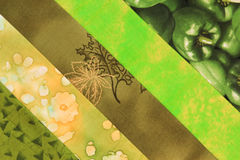 Quilt block-green. Multi  strips of fabric in a quilt block Royalty Free Stock Image