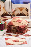 Quilt blocks sewing with an electric sewing machine Stock Photography