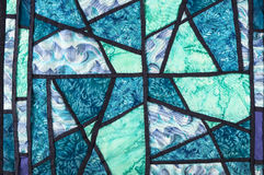 Quilt in blue, green and purple Stock Photo