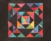 Quilt caseiro com cores brilhantes Imagem de Stock Royalty Free