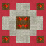 Quilt design n.6, collage for a quilt, red and beige with floral Royalty Free Stock Photography