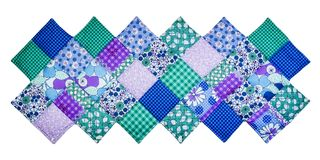Quilt with diagonal square. S, colors fabrics  on awhitw background with path icluded Royalty Free Stock Photos