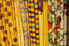 Quilt Fabric. Close up of bold colorful fat quarter quilt fabric stock images