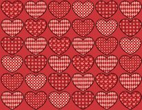 Quilt hearts seamless pattern. Patchwork red hearts seamless pattern. Holiday background Stock Image