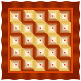 Quilt, Log Cabin, Straight Furrow variation. Traditional Log Cabin quilt pattern in browns and oranges. This design variation is called Straight Furrow Stock Photography