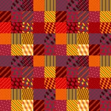 Quilt. Patchwork in warm autumn colors. Ethnic boho seamless pattern. Geometric tribal ornament. Vector illustration Royalty Free Illustration