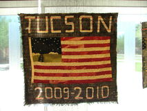 Quilt representing immigrants who died. The quilt displays the names of those immigrants who died in 2009 - 2010 crossing the border in to Arizona near Tucson Royalty Free Stock Photos