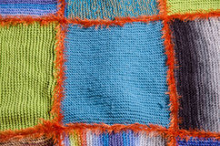 Quilt segment. Close-up of colorful segments of a knitted quilt Stock Photo
