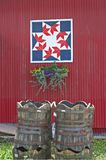 Quilt Square & Barrels Stock Photo