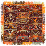 Quilt square carpet with grunge striped wavy pattern and fringe Stock Photography