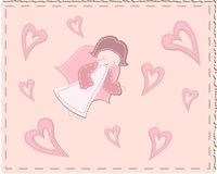 Quilted angel with hearts Stock Photo
