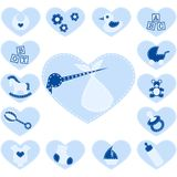 Quilted baby buttons for a boy Stock Images