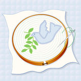 Quilted Background, Dove of Peace Embroidery Royalty Free Stock Image