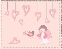 Quilted bird and angel with hearts Royalty Free Stock Photo