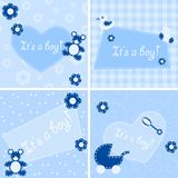 Quilted birth announcement cards for a boy Royalty Free Stock Images