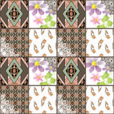 Quilted, boho seamless pattern, patchwork, rustic style. Backgro Stock Photo