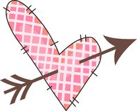 QUILTED HEART WITH ARROW Royalty Free Stock Photography