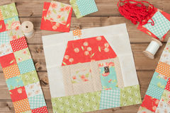 Quilted House. Sewing And Quilting Accessories. Fabric Patches. Stock Images