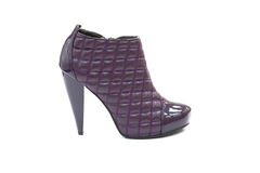 Quilted leather blue shoe with high heel Stock Photography