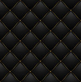 Quilted Pattern Background. Vector. Quilted Pattern Background Vip Black with Gold Thread Luxury Expensive Concept Decorative Upholstery Soft Texture. Vector Stock Images