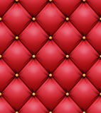 Quilted Pattern Vector. Red Leather Upholstery Background For A Luxury Decoration. Seamless Stock Image