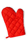 Quilted red heat protective mitten isolated Royalty Free Stock Photos