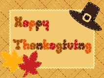 Quilted Thanksgiving postcard with a pilgrim hat Royalty Free Stock Photo