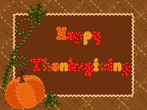 Quilted Thanksgiving postcard with a pumpkin Stock Photo