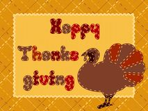 Quilted Thanksgiving postcard with a turkey Royalty Free Stock Images