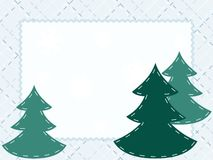 Quilted Winter postcard with evergreens Royalty Free Stock Photography