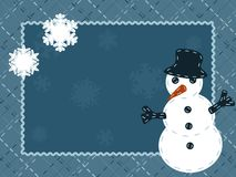 Quilted Winter postcard with a snowman Stock Photography