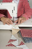Quilter sewing pieces of fabric. A quilter stitches cut pieces of colorful fabric for a quilt top Stock Photography