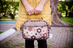 Quilting Bag In the hands of women Stock Image