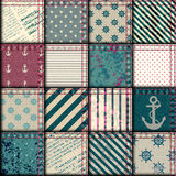 Quilting design in nautical style. Seamless background pattern. Nautical patchwork with grunge effect Stock Photo