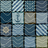Quilting design in nautical style. Seamless background pattern. Nautical patchwork with a waves Stock Photo