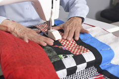 Quilting in the ditch. Royalty Free Stock Photos