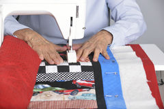 Quilting in the ditch. Royalty Free Stock Image