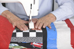 Quilting in the ditch. Stock Photo