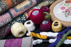 Quilting equipment and fabrics. Royalty Free Stock Photography