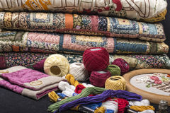 Quilting equipment and fabrics. Various items for quilting and embroidery Royalty Free Stock Image
