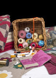 Quilting equipment and fabrics. Various items for quilting and embroidery Stock Photo